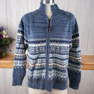 Full Zip Blue Fair Isle Nordic Sweater Leather Acc